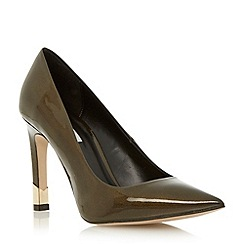 Dune - Green patent pointed toe court shoe