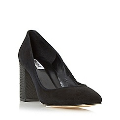 Dune - Black 'Abell' block heeled round toe court shoe