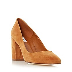 Dune - Tan 'Abell' block heeled round toe court shoe