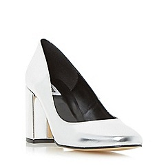 Dune - Silver 'Abell' block heeled round toe court shoe
