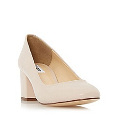 Dune - Natural 'Annalena' block heel round toe court shoe