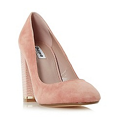 Dune - Light pink 'Adriane' block heel almond toe court shoe