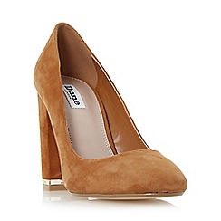 Dune - Tan 'Adriane' block heel almond toe court shoe