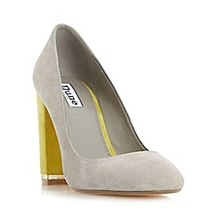 Dune - Grey 'Adriane' square toe block heel court shoe