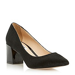 Dune - Black pointed toe block heel court shoe