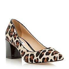 Dune - Leopard pointed toe block heel court shoe