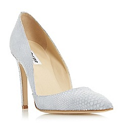 Dune - Grey 'Alia' reptile print pointed toe heeled court shoe