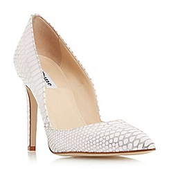 Dune - Light pink 'Alia' reptile print pointed toe heeled court shoe