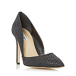 Dune - Black 'Alia' reptile print pointed toe heeled court shoe