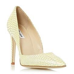 Dune - Yellow 'Alia' reptile print pointed toe heeled court shoe