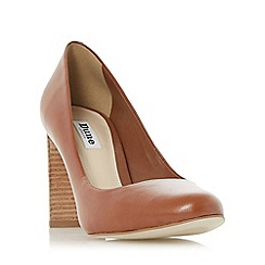 Dune - Tan 'Alaska' round toe stacked heel court shoe