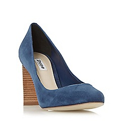 Dune - Navy 'Alaska' round toe stacked heel court shoe