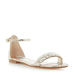 Dune - Metallic two-part sandal with jewelled toe strap