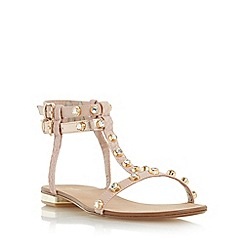 Dune - Light pink 'Nessey' jewelled stud flat sandal