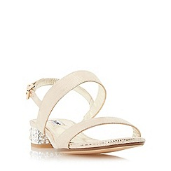 Dune - Gold 'Ninah' jewelled block heel sandal