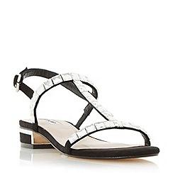 Dune - Black 'Nella' square jewel strap flat sandal