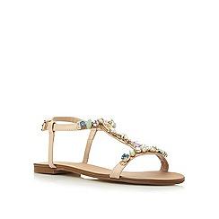 Dune - Neutral jewel embellished t-bar sandal