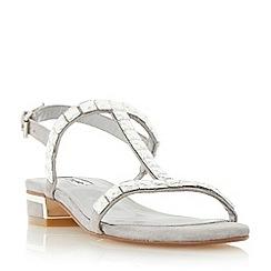 Dune - Grey 'Nella' square jewel strap flat sandal