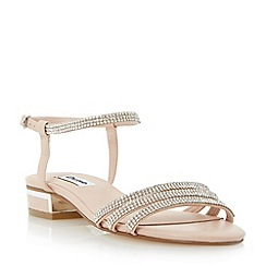Dune - Neutral strappy diamante low block heel sandal