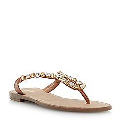 Dune - Brown diamante embellished toe post sandal