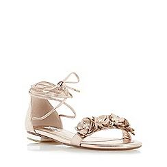 Dune - Rose 'Nigella' ghillie lace up flower trim flat sandal
