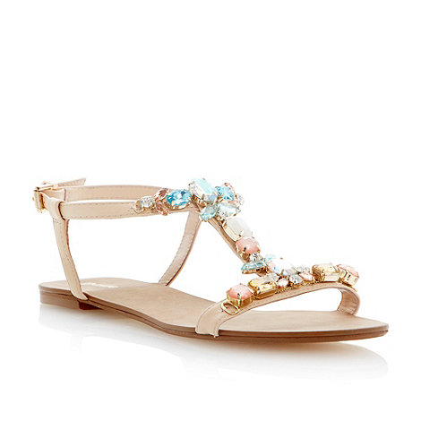 Dune - Blonde jewel embellished t-bar flat sandal