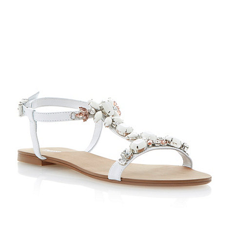 Dune - White jewel embellished t-bar flat sandal