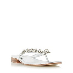 Dune - Silver 'Niki' jewelled toe post sandal