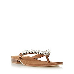 Dune - Tan 'Nevah' diamante toe post flat sandal