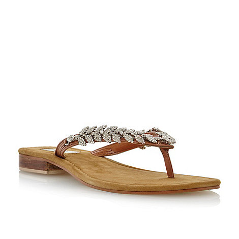Dune - Tan +Kindy+ diamante toe post sandal