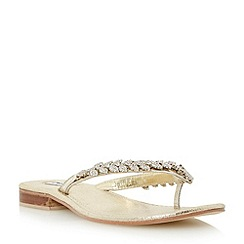 Dune - Metallic diamante toe post sandal