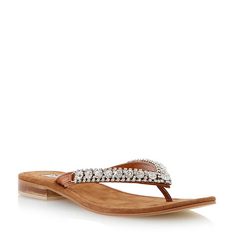 Dune - Brown diamante toe post flat sandal