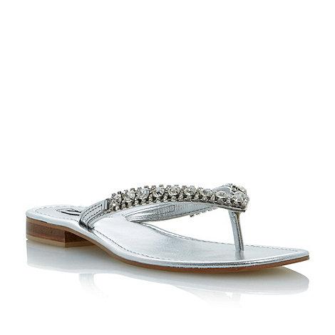 Dune - Metallic diamante toe post flat sandal
