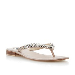 Dune - Pink diamante toe post flat sandal