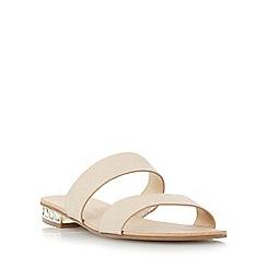 Dune - Metallic jewel heel double strap flat sandal