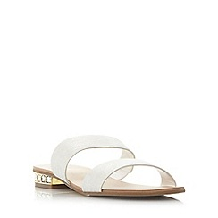 Dune - Silver 'Nesha' jewel heel double strap flat sandal