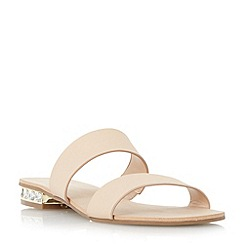 Dune - Neutral jewel heel double strap flat sandal