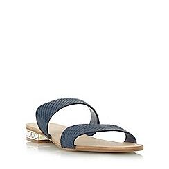 Dune - Gold 'Nesha' jewel heel double strap flat sandal