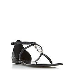 Dune - Black 'Nayla' jewelled toe post flat sandal