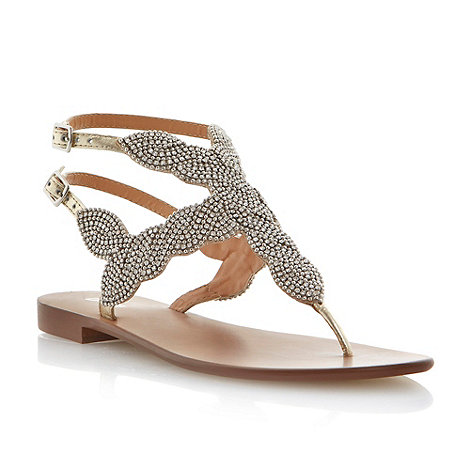 Dune - Metallic beaded toe post sandal