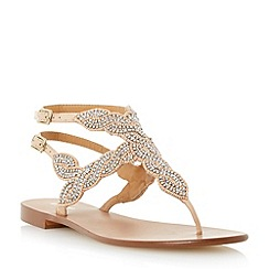 Dune - Neutral beaded toe post sandal