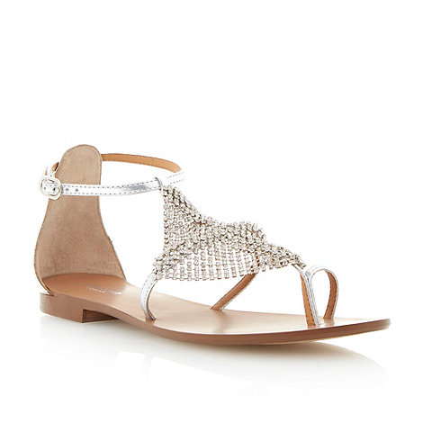 Dune - Silver diamante toe ring sandal