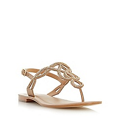 Dune - Tan 'Nea' embellished toe post sandal