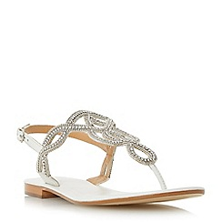 Dune - White 'Nea' embellished toe post sandal