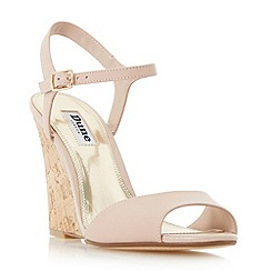 Dune - Light pink 'Montecarlo' cork effect wedge sandals