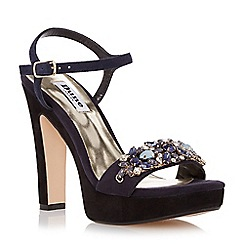 Dune - Blue-suede 'Meghan' suede two part jewel trim platform sandal