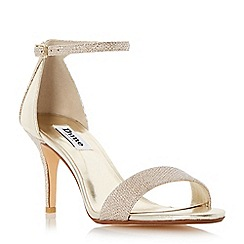 Dune - Gold 'Mariee' two part mid heel sandal