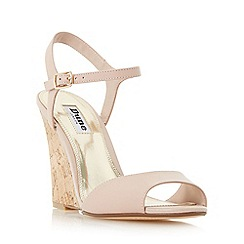 Dune - Light pink 'Montecarlo' cork effect wedge sandal