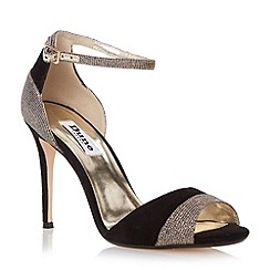 Dune - Black two part mixed material high heel sandal