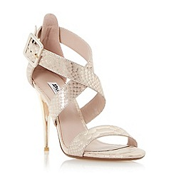 Dune - Gold-reptile 'Melisa' crossover strap stiletto sandal